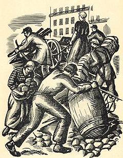 El proletariado de París, con un rol histórico de las mujeres, establecieron y defendieron la Comuna de París, la primera materialización de la dictadura del proletariado.