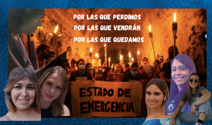 Collage original de Abayarde Rojo con foto de Toñito Zayas. Manifestación convocada por la Colectiva Feminista en Construcción para exigir Estado de Emergencia.