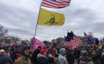 Foto muestra bandera americana junto a bandera asociada a movimientos libertarios durante el ataque al capitolio el 6 de Junio.